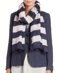 Weekend by Maxmara - White Agora Floral Striped Scarf - Lyst