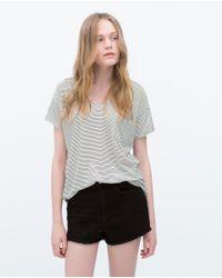 Zara | White T-shirt With Pocket | Lyst