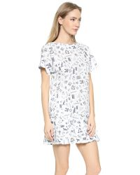 Maison Kitsuné - White Map Pleated Dress - Ecru Print - Lyst
