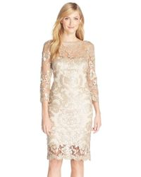 Tadashi Shoji Natural Sequin Embellished Mesh Sheath Dress