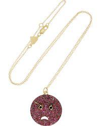Alison Lou - Metallic Angry 14-Karat Gold, Ruby, Diamond And Enamel Necklace - Lyst