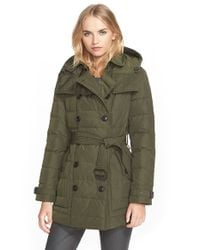 Burberry Brit - Green 'mid Allerdale' Belted Quilted Down Coat With Detachable Hood - Lyst