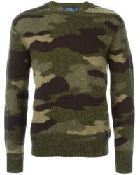 Polo Ralph Lauren - Green Camouflage Crew Neck Sweater for Men - Lyst