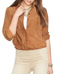 Ralph Lauren - Brown Lauren Suede Button Down Shirt - Lyst