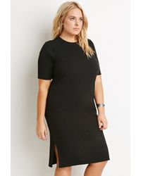 Forever 21 | Black Side-slit Midi Dress | Lyst