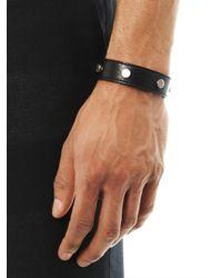 Balenciaga - Black Studded Leather Bracelet for Men - Lyst