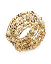 INC International Concepts - Metallic Goldtone Opalcolored Bead Coil Bracelet - Lyst