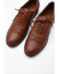 Forever 21 - Brown Faux Leather Brogues - Lyst