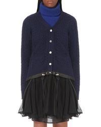 Sacai | Blue Drawstring-hem Wool Cardigan | Lyst