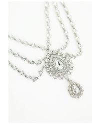Missguided   Metallic Statement Drop Embellished Necklace Silver   Lyst