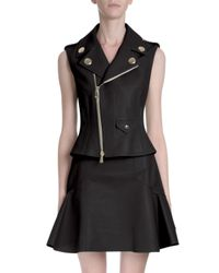 Givenchy - Black Zip Leather Moto Vest - Lyst