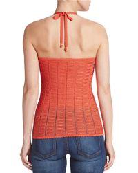 Guess | Orange Crocheted Halter Top | Lyst