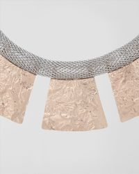 Jaeger - Metallic Textured Tab Necklace - Lyst
