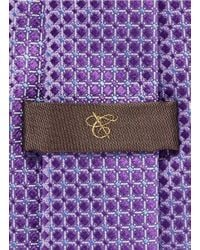 Canali - Purple Glossy Check Silk Tie for Men - Lyst