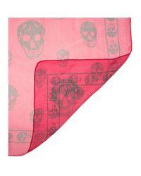 Alexander McQueen - Pink Printed Silk Scarf - Lyst
