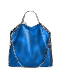 Stella McCartney | Blue Shaggy Deer Falabella Fold-over Small Tote | Lyst