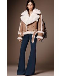 Burberry - White Oversized Shearling Biker Jacket - Lyst