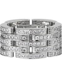 Cartier | Metallic Maillon Panthère 18ct White-gold And Diamond Link Ring | Lyst