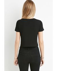 Forever 21 - Black Ribbed Stretch Knit Top - Lyst