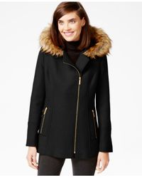 Michael Kors | Black Michael Faux-fur-trim Asymmetrical-zip Coat | Lyst
