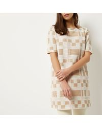 River Island - Multicolor Cream Check Print Longline T-shirt - Lyst