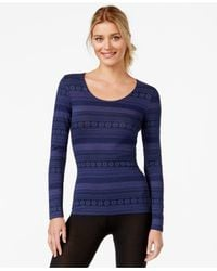 32 Degrees - Blue Printed Scoop Neck Baselayer Top - Lyst