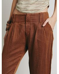 Free People - Brown Relaxed Washed Trouser - Lyst
