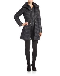 Ellen Tracy - Black Packable Puffer Coat - Lyst