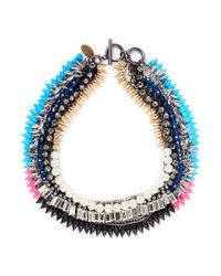 Venna | Multicolor Crystal Pearl Spike Necklace | Lyst