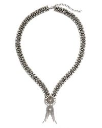 DANNIJO | Metallic 'anabel' Pendant Necklace - Clear Crystal/ Silver | Lyst