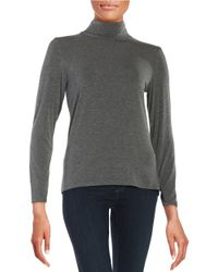 Calvin Klein | Gray Turtleneck Knit Top | Lyst