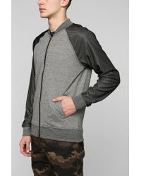 Urban Outfitters - Gray Classic Mesh Sleeve Zipup Sweatshirt for Men - Lyst