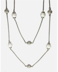 Effy | Metallic Freshwater Pearl Station Necklace In Sterling Silver | Lyst