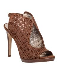 Tory Burch | Brown Elinor Perforated Suede Sandal | Lyst