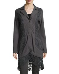 XCVI | Gray Paisley Crochet-Paneled Jacket | Lyst