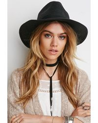 Forever 21 - Black Straw Ribbon-trimmed Fedora - Lyst