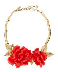 Oscar de la Renta - Metallic Flower Necklace - Lyst