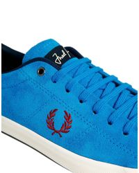 Fred Perry - Blue Howells Suede Turquoise Sneakers - Lyst