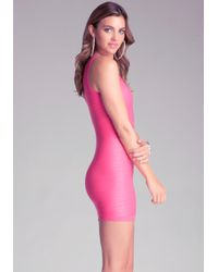 Bebe - Pink Wave Stitch Tank Dress - Lyst