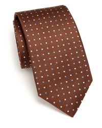 Eton of Sweden - Brown Polka Dot Silk Tie for Men - Lyst