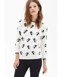 Forever 21 - Natural Siamese Cat Crew Neck Sweater - Lyst