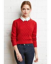 Forever 21 | Red Cropped Cable Knit Sweater | Lyst