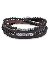 Platadepalo - Brown Silver Lava & Leather Bracelet - Lyst