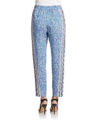 French Connection | Blue Bali Batik Drape Drawstring Trousers | Lyst