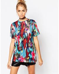 Jaded London | Multicolor Feather Print T-shirt | Lyst