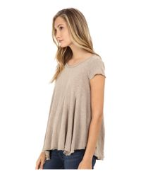 Free People | Brown Slub Sylvie Tee | Lyst