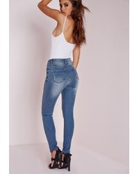 Missguided - Hustler Mid Rise Skinny Jeans Retro Blue - Lyst