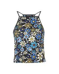 TOPSHOP | Black '70s Floral Crinkle Cami | Lyst
