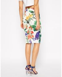 ASOS - Multicolor Pencil Skirt in Textured Botanical Floral Print - Lyst