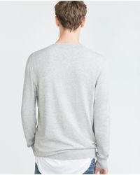 Zara | Gray V-neck Sweater for Men | Lyst